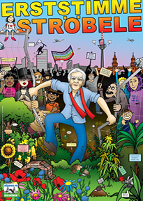 Wahlplakat zur Bundestagswahl 2013: Erststimme Ströbele!