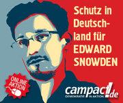 Banner: Schutz für Snowden in Deutschland