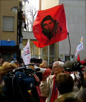 Christian bei der Demo in Kehl; aufgenommen von Jörg Lang