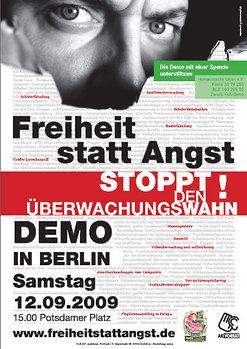 """Auf zur Demo """"Freiheit statt Angst"""" stoppt den Überwachungswahn am 12.September!"""