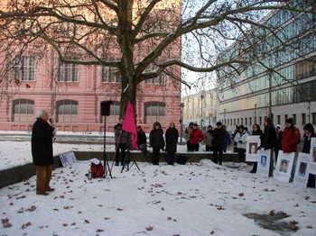 Christian bei der Protestkundgebung vor dem Auswärtigen Amt