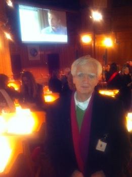 Hans-Christian und eingeblendeter Preisträger Edward Snowden