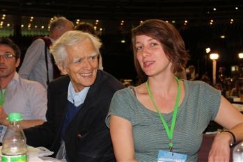 Hans-Christian im Gespräch mit Paula Riester (Sprecherin der BVV-Fraktion Friedrichshain-Kreuzberg) auf BDK 2013
